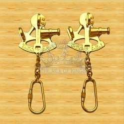 Solid Brass Sextant Key Chain