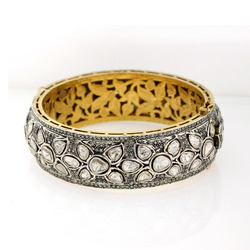 18k Gold Pave Rose Cut Diamond Bangles