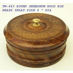 Round Brass Inlay Box