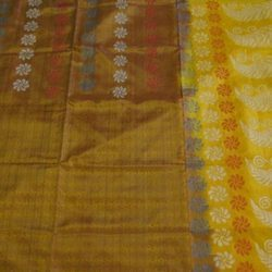 Soft Silk With Hand Embossed Jute Work Saree
