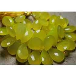 Lime Green Chalcedony Faceted Large Pear Briolettes