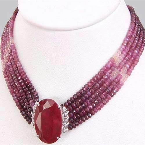 5 Strand African Ruby Choker Necklace