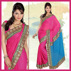Pink Viscose Saree With Blouse (153)