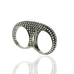 Pave Diamond Double Finger Bands