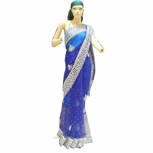 Royal Blue Net Saree