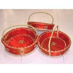 round handle basket set of 3 big - Decorative Baskets
