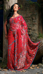 Red Georgette Brasso Bollywood Saree With Resham And Zari Work