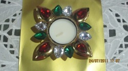 Crystel Diya with tea light candle (Square)