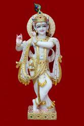 Gold Painted Krishna Statue