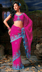 Magenta Foux Georgette Party Wear Saree With Attractive Frill Border