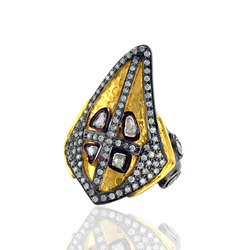 Designer pave diamond gold ring