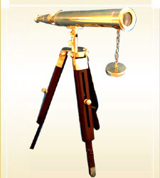 Brass And Wooden Ship Telescope
