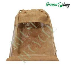 Jute Drawstring Bag With PVC Window