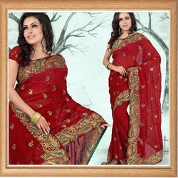 Mystic Maroon Faux Georgette Saree With Blouse