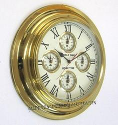 World Time Brass Wall Clock