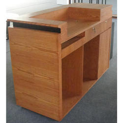 wooden check out counter