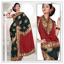 Atrous Black Faux Georgette Saree With Blouse (207)