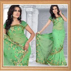 Mint Green Faux Georgette Saree With Blouse