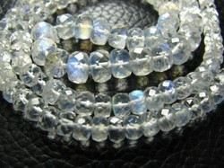 finest crystal clear rainbow moonstone rondelles