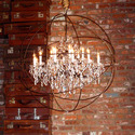 Wrought Iron - Crystal Chandelier