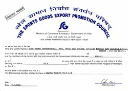 The Sports Goods Exports Promotion Council Certificate