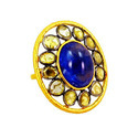 Tanzanite Gemstone Stud Gold Earring
