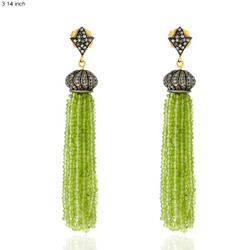 Designer Peridot Tassel Earrings