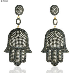 18K Hamsa Shaped Diamond Earrings