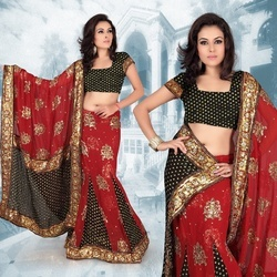 Deep Red Faux Georgette Lehenga Style Saree