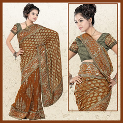 Golden Brown Faux Georgette Saree With Blouse (27)