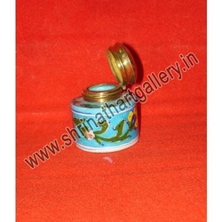 Blue Pottery Ink Pot