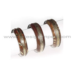 Dark Wood Bangles With Brass Inlay