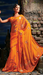 Orange Faux Georgette Bollywood Saree With Fancy patch Work