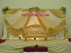 Asian Wedding Golden Carved Love Seater