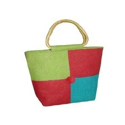Green, Blue and Pink Jute Bag