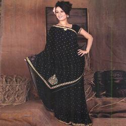 Embroidered+Black+Saree