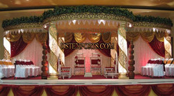 Wedding Gold Fiber Crystal Mandap Set