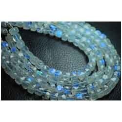 Blue Fire Rainbow Moonstone Faceted Cube Briolettes