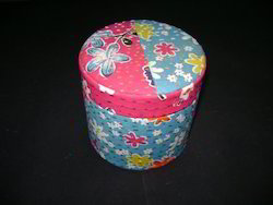 Round Fabric Covered Boxes Made From Textile Waste