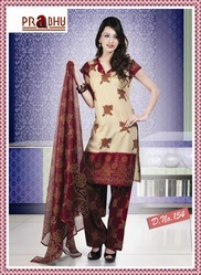 Red flower print Cotton  Kameez with Dupatta