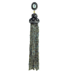 Labrodrite Diamond Tassel Pendants