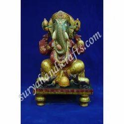 Wooden Meena Painting Chowki Ganesh Ji