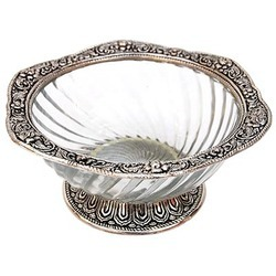 White Glass Metal Bowl