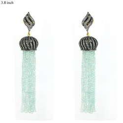 Pave Diamond Gold Tassel Earrings