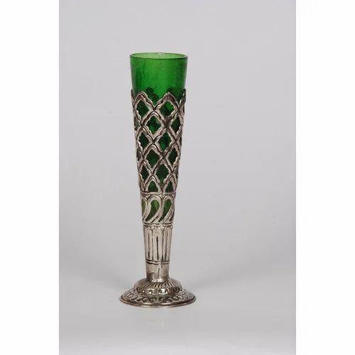 Glass Flower Vase Green Glass Flower Vase Exporter From Faridabad