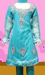 Turquoise Blue Net Churidar Kameez With Dupatta