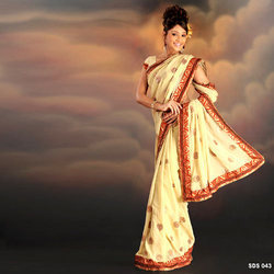 Designer Georgette Sarees With Dupion Border