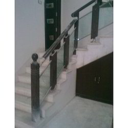 Steel Railing With Glass and Wood