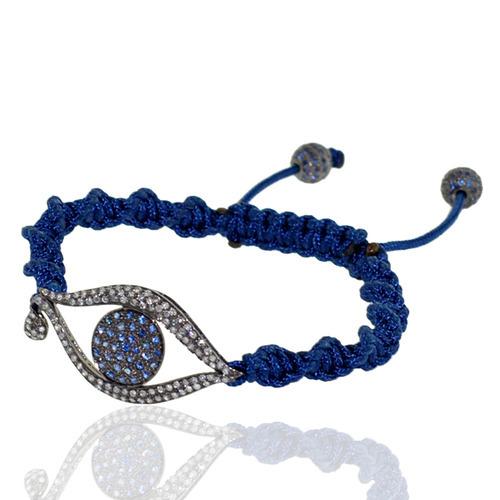 Evil Eye Diamond Charm Macrame Bracelet