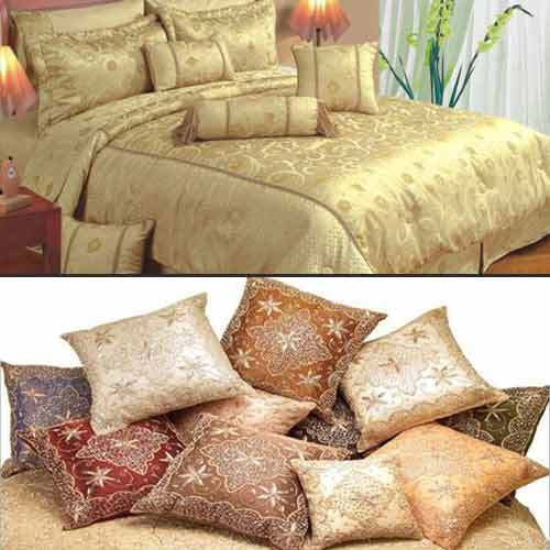Home Furnishing Products - Embroidered Bed Sheets Set Exporter from Jaipur